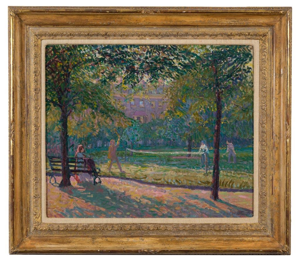 'Tennis at Mornington Crescent Gardens' by Spencer Frederick Gore (framed). Kynance Fine Art, London.